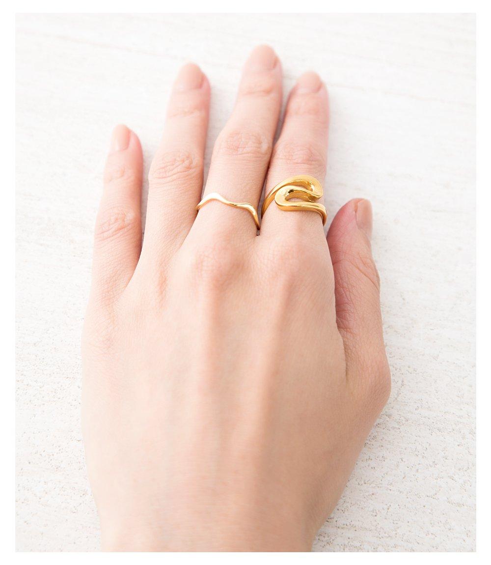 日本CREAM DOT  /  リング 指輪 ステンレス製 低アレルギー レディース 大きいサイズ 9号 12号 15号 17号 カーブリング ファッションリング 大人カジュアル シンプル ゴールド シルバー ピンクゴールド  /  a03643  /  日本必買 日本樂天直送(1790) 8