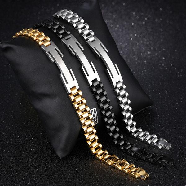 QBOX Fashion 飾品:《QBOX》FASHION飾品【B100N718】精緻個性情侶長方形鏤空設計單色鈦鋼對鍊手環(三色)