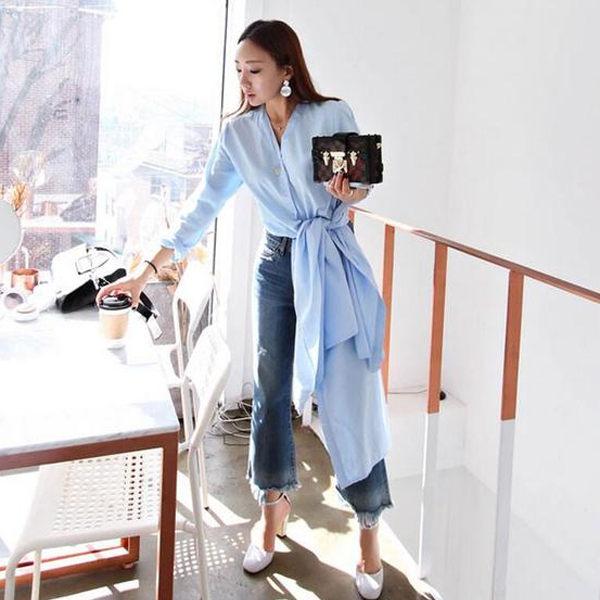 PS Mall 韓版簡約時尚V領下擺開叉中長款襯衫【T075】