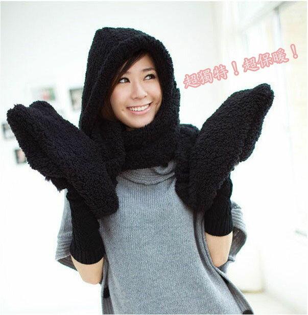 可愛毛絨動物三合一連帽圍巾手套(款式隨機出貨)
