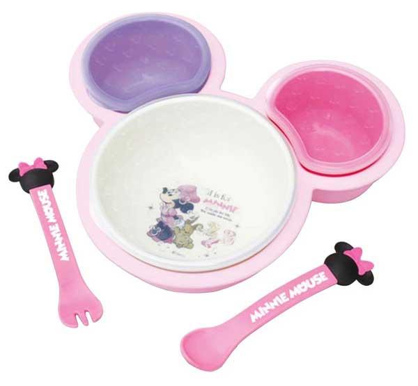 ★衛立兒生活館★日本 迪士尼 米妮可愛造型兒童餐具/多功能餐盤組 (基本組)