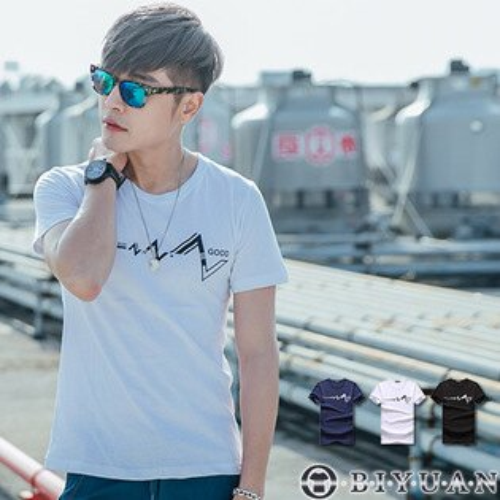 短袖T恤【F30128】OBIYUAN電流心電圖印花短袖上衣共3色