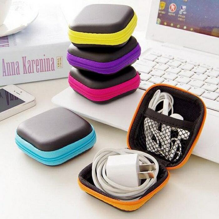 [Hare.D] 小號硬殼耳機收納包 正方型 收納盒 充電器數據線充電線 迷你便攜 防壓防摔 硬殼零錢包 鑰匙包