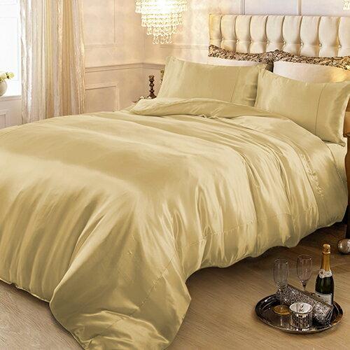 絲緞 雙人四件式被套床包組-黃金夢/ 哇哇購