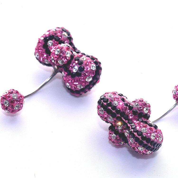 鋼針耳環 思華洛水晶鑽 粉紅蝴蝶結款 (一對2只)