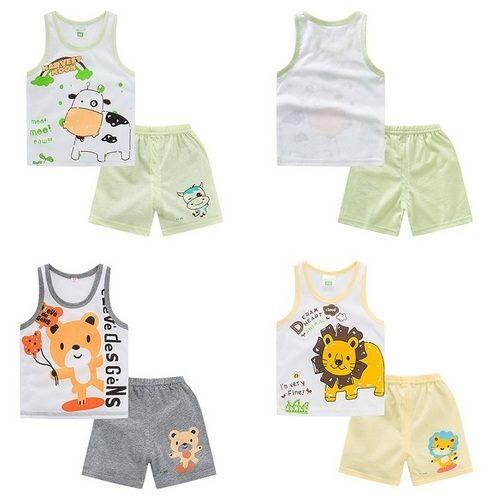 嬰幼兒短袖套裝背心上衣T恤+短褲童裝AIY10701好娃娃