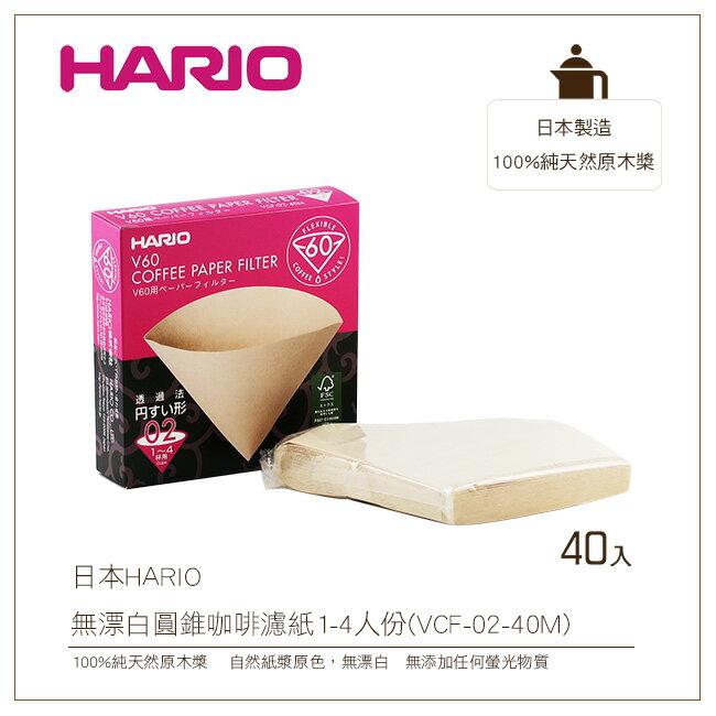日本HARIO V60無漂白圓錐咖啡濾紙40入盒裝1-4人份100%純天然原木槳(VCF-02-40M)