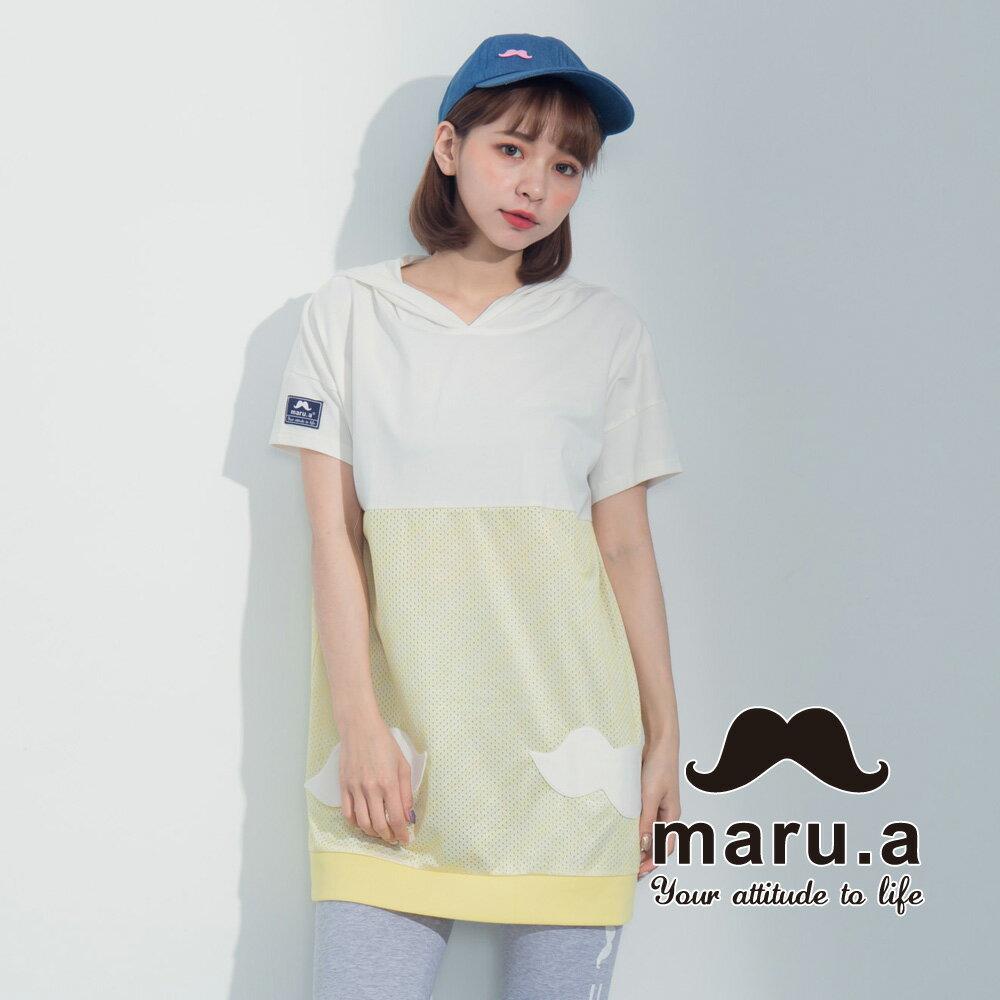 【maru.a】街頭風拼接長版T-shirt 7321317 5