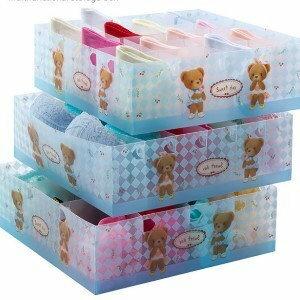 美麗大街【BFA71E1E4】幸福的小熊精裝PP桌面抽屜衣物收納盒(24格)