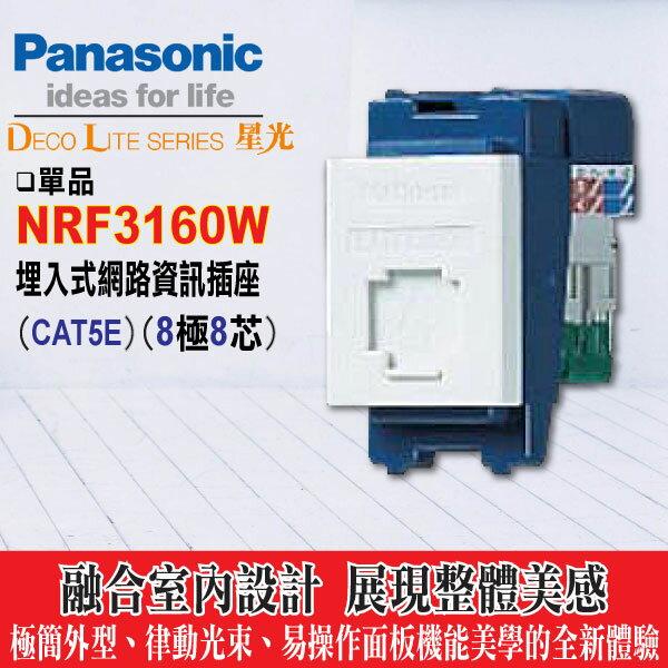 《國際牌》星光系列NRF3160W資訊插座8極8芯【網路插座cat5e】(不含蓋板)(白) -《HY生活館》水電材料專賣店