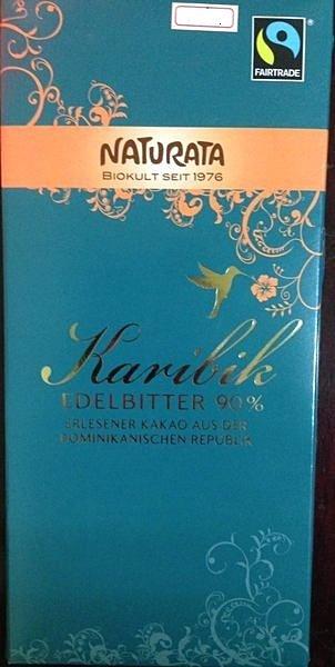 德國【納圖拉Naturata】加勒比 90%有機黑巧克力 10片入