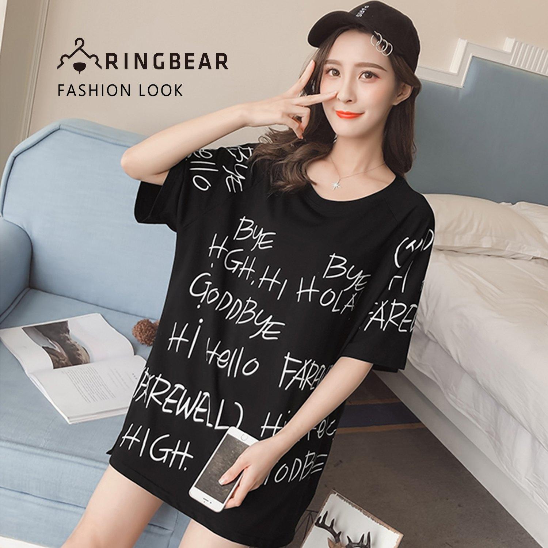 棉T--時尚運動個性風字母印花寬鬆修身開叉圓領短袖T恤(黑L-3L)-T337眼圈熊中大尺碼 0