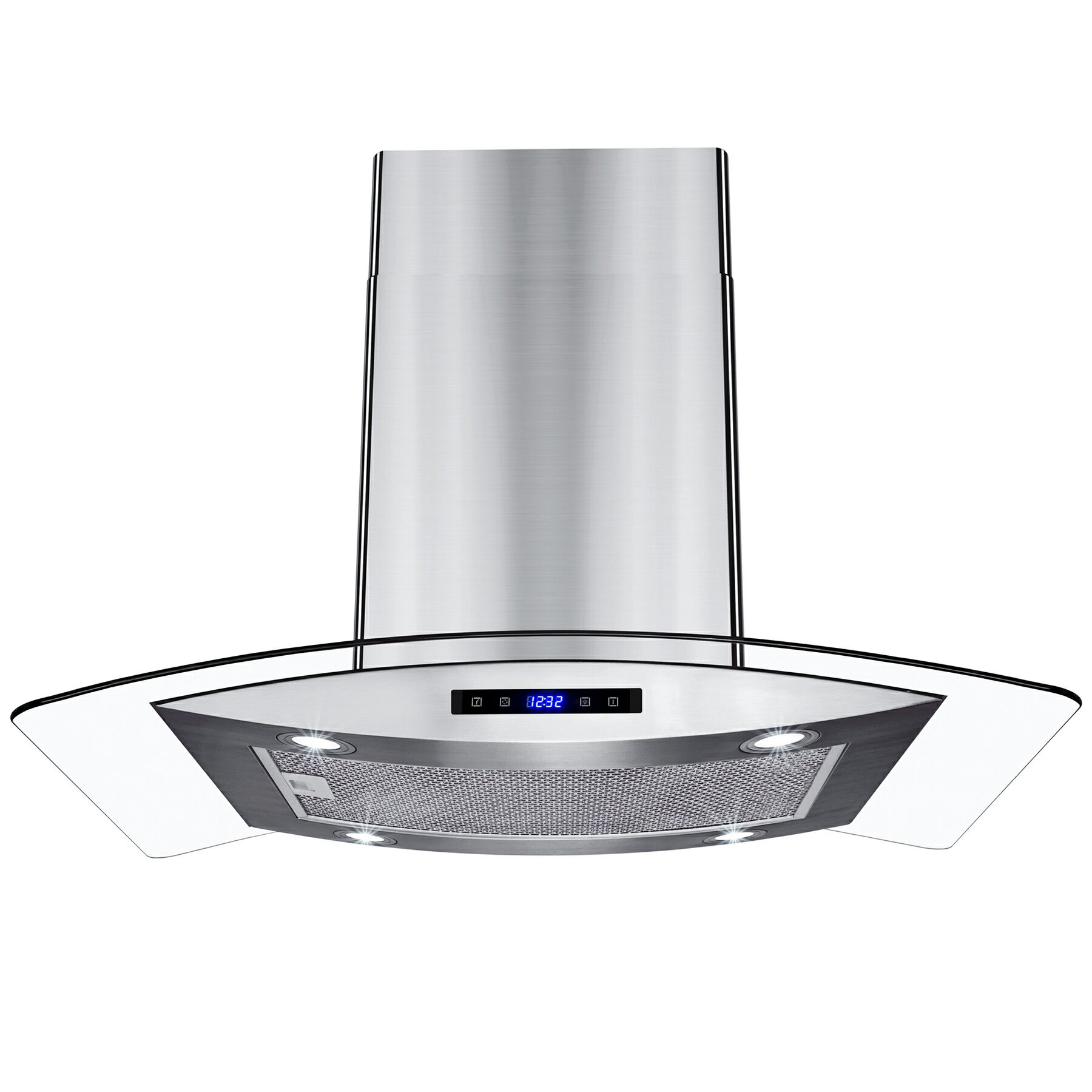 Akdy 30 Island Mount Stainless Steel Tempered Gl Touch Panel Kitchen Range Hood Cooking Fan