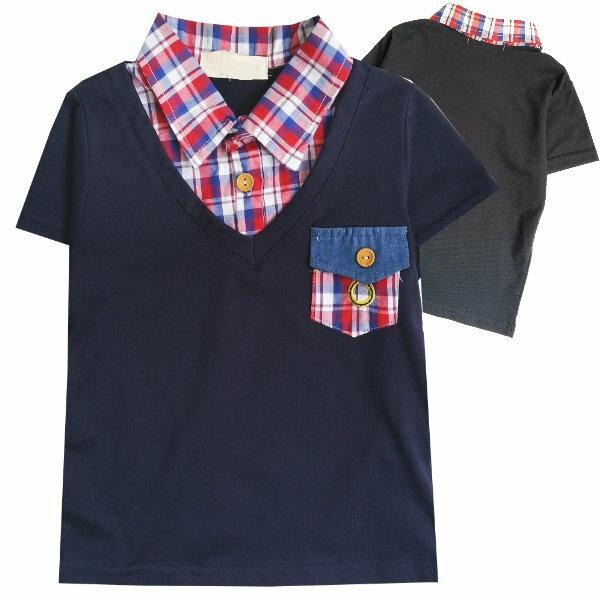 ~班比納 ~格紋口袋假兩件上衣~ 藍~BO150622054~