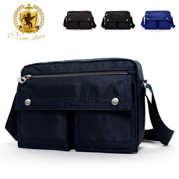 日系雙口袋雙層側背包 (休閒 斜背包 porter風 NEW STAR BL49 0