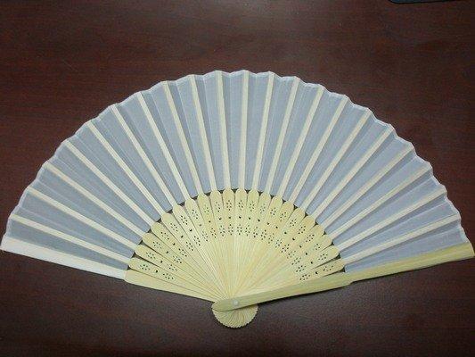 8英吋白色絹布 空白扇子 彩繪扇子 20.5cm/一支入{定30} 手繪扇(日本扇子.小摺竹片單面絹布)~5155