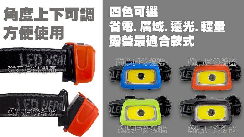 【【蘋果戶外】】優質無標商品【 IPX4/ 200流明】 LED廣域 遠光頭燈 COB XPE 3W省電防水頭燈四色可選