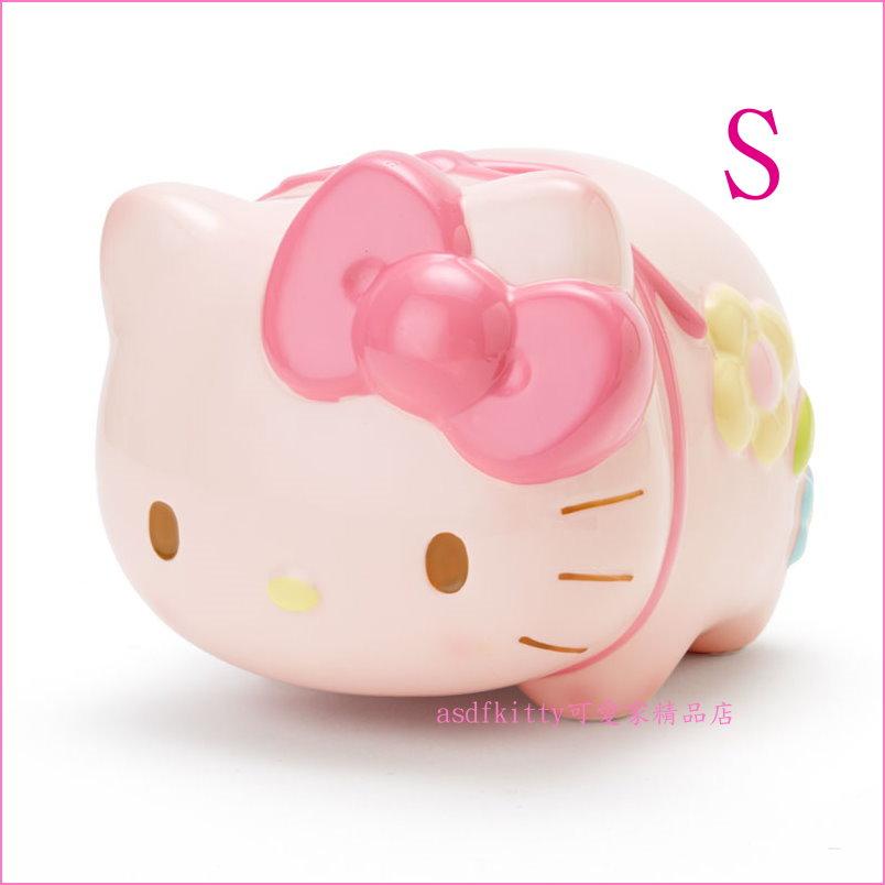 asdfkitty可愛家☆KITTY粉紅豬造型陶瓷存錢筒/撲滿/儲金箱-小-S-日本正版商品