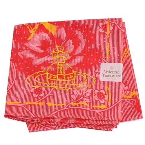 Vivienne Westwood 經典行星圖騰LOGO花開富貴帕領巾(紅)
