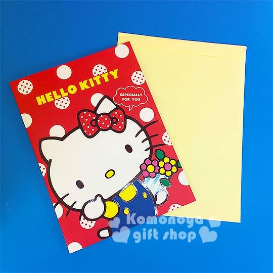 〔小禮堂〕Hello Kitty 萬用直式卡片《紅.拿花.點點》附信封