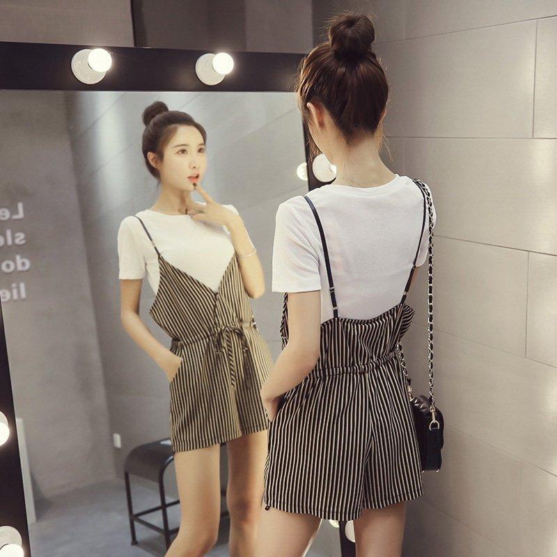 FINDSENSE G5 韓國時尚 短袖 純色 T恤 短褲 兩件套 條紋 吊帶 連身短褲 學院套裝