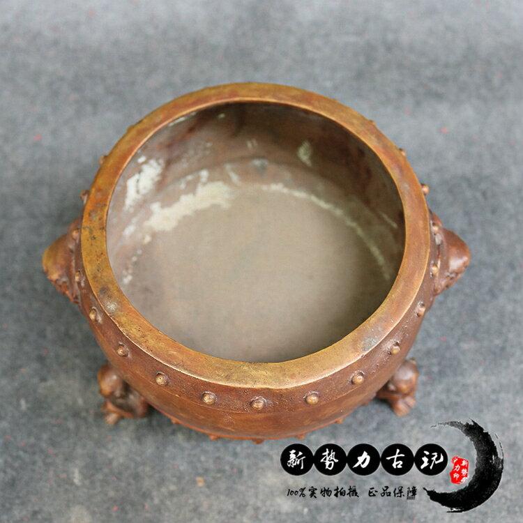 古玩仿古三猴駝鼓雙獅耳純銅香爐雜項居家擺件飾品收藏大號香薰爐