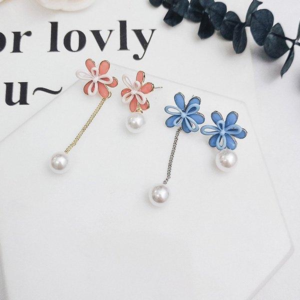 耳環花朵雙層花瓣珍珠鍊條不對稱耳釘耳環【DD1805073】BOBI0524