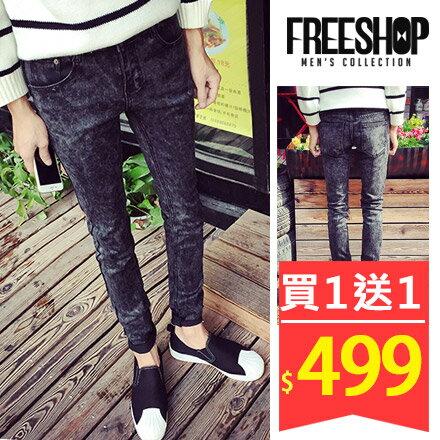Free Shop【QTJK06】買一送一(送皮帶) 韓版型男風格合身窄版素面丹寧牛仔長褲‧黑灰色系