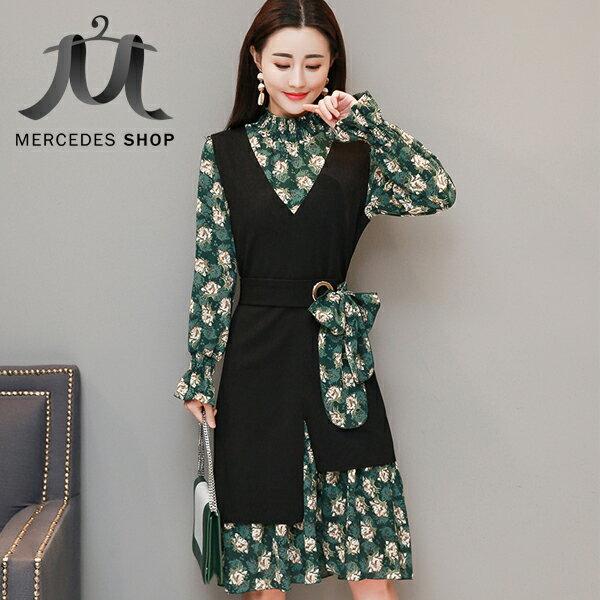 《全店75折》春裝中長款時尚碎花雪紡兩件套長袖洋裝(S-3XL,3色)-梅西蒂絲(現貨+預購)