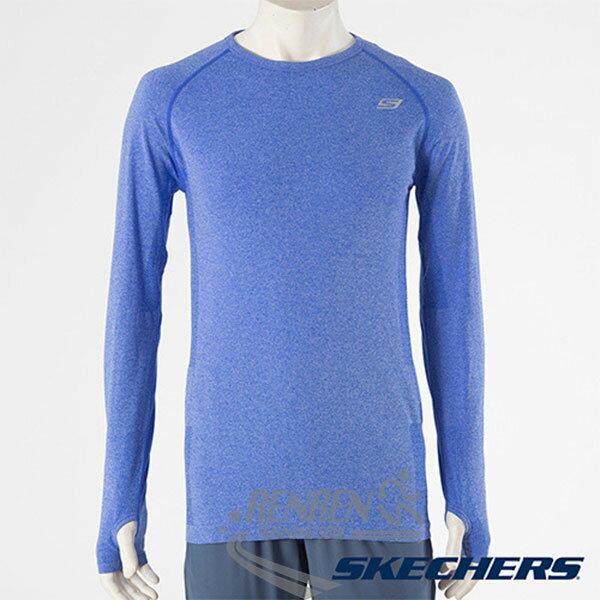 SKECHERS 男長袖衣(淺藍) 排汗快乾 輕量舒適 反光LOGO