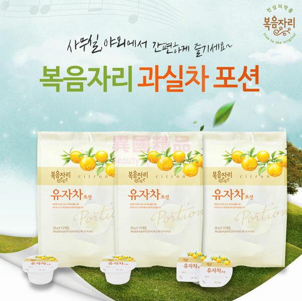 韓國 花果園 柚子茶 奶油球包裝款 390g(26g*15入)/袋 12袋入/箱裝【特價】§異國精品§