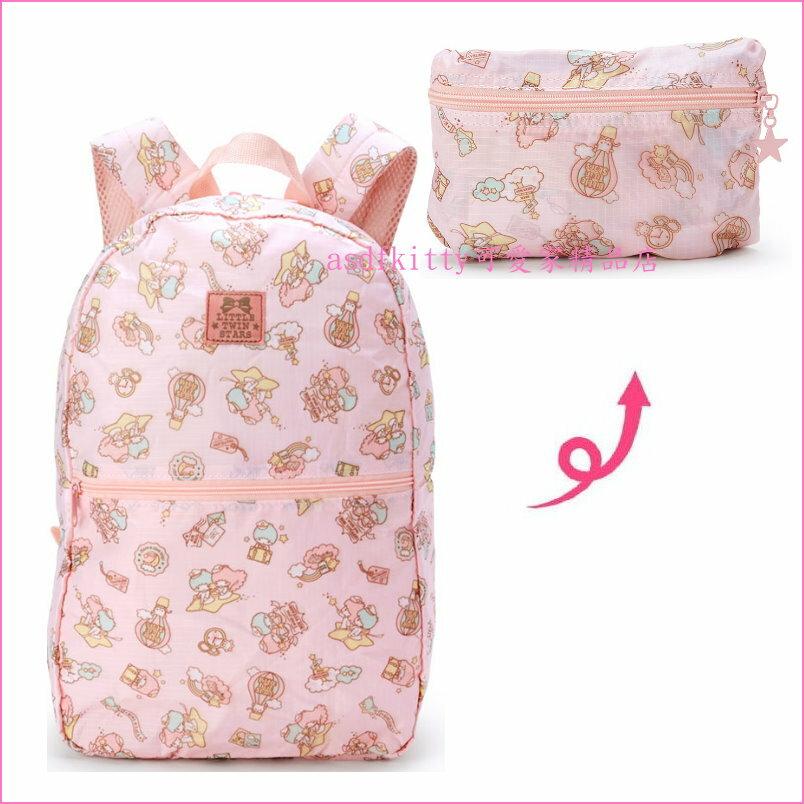 asdfkitty可愛家☆雙子星輕量粉旅行風後背包-可掛於行李箱桿上-可折收-日本正版商品
