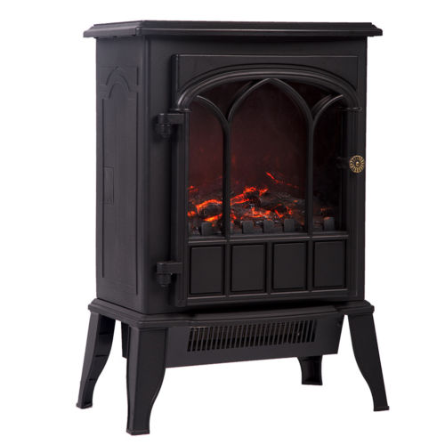 Electric Fireplace Heater, 750W/1500W Free Standing Portable Fireplace Heat  Log Flame Stove 0