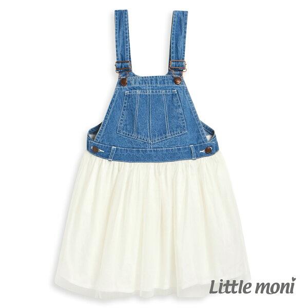 Littlemoni牛仔網紗洋裝-白色