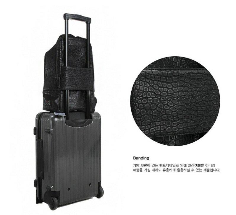 韓國代購 高品質 簡約男性公事14.15吋筆電雙背包 經典包 6