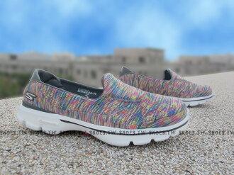 Shoestw【14061MULT】SKECHERS 健走鞋 GO WALK3 全新Q彈底 彩色線條 瑜珈鞋墊