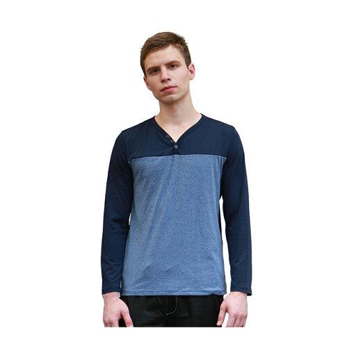 Unique Bargains Men V-Neck Color Block Buttons Upper Long Sleeves T-shirt Blue M f1b21e6195b37907cd15c4a617dfe027