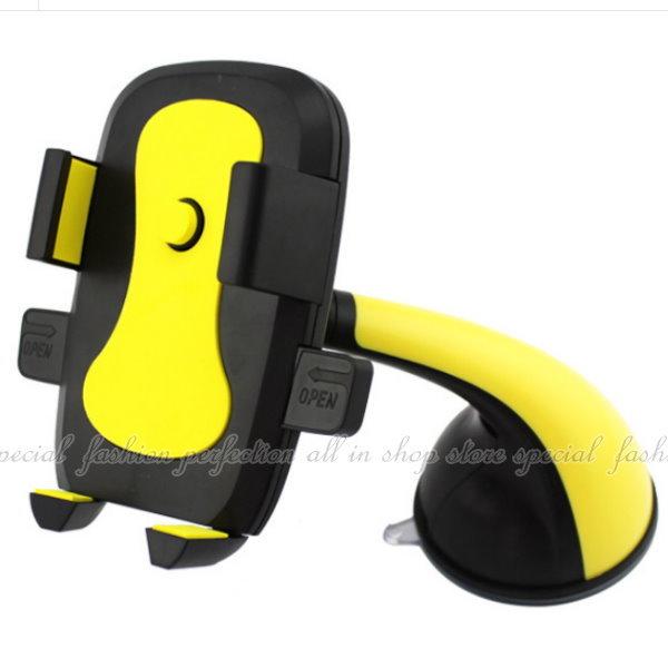 弧型手柄手機導航架 汽車吸盤支撐架 手機導航支架 360旋轉 GPS 行車紀錄器支撐座【DM490】◎123便利屋◎