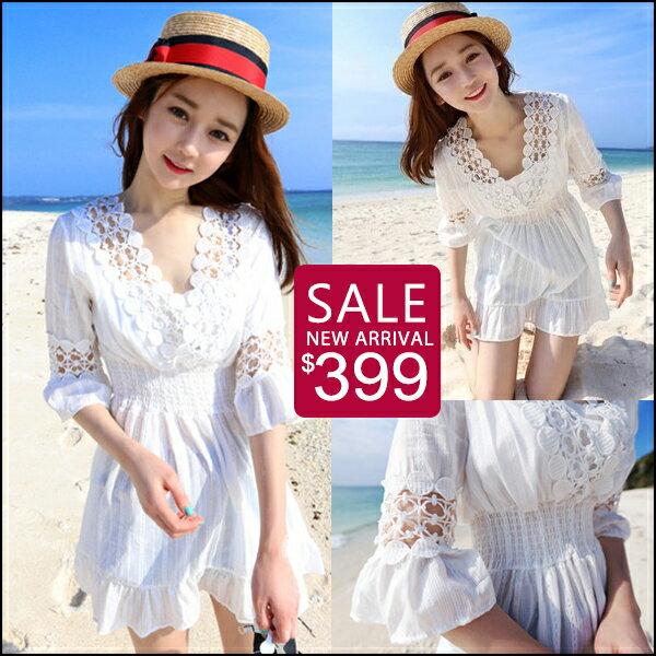 ☆克妹☆現貨+預購【ZT42920】泰國潮牌女神渡假風勾織蕾絲V領娃娃洋裝