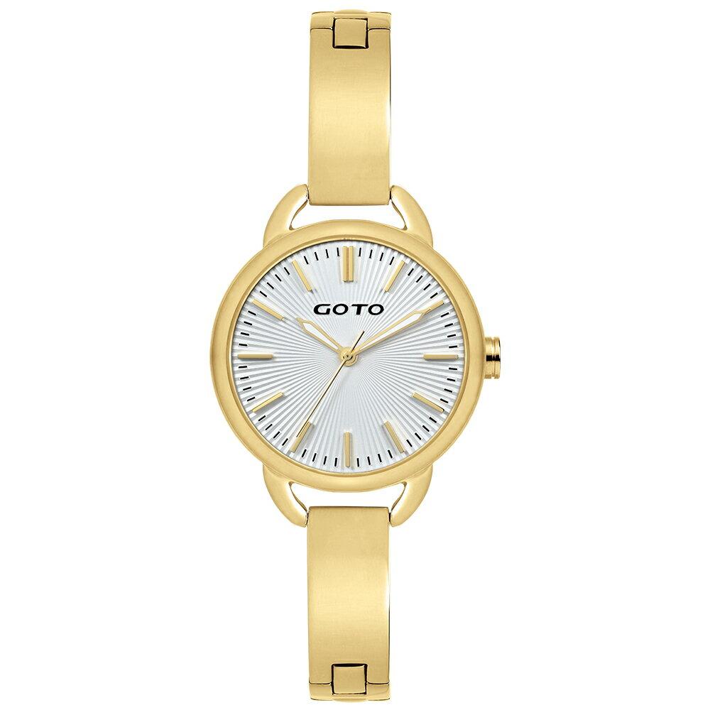 【易奇網】GOTO Sugar Lady 時尚腕錶-金色錶殼x高雅首飾錶帶/32mm