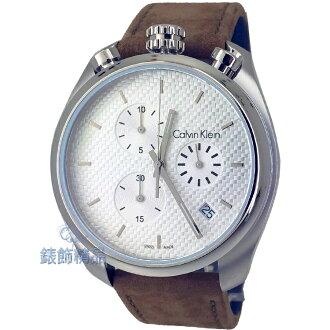 【錶飾精品】CK手錶Calvin Klein K6Z371G6 銀色編織紋錶盤 日期 計時 上龍頭 棕綠皮帶男錶 正品
