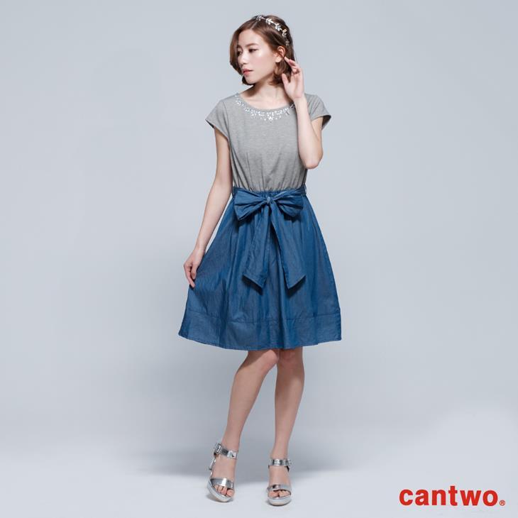 cantwo鑽飾小包袖丹寧系洋裝(共三色) 0