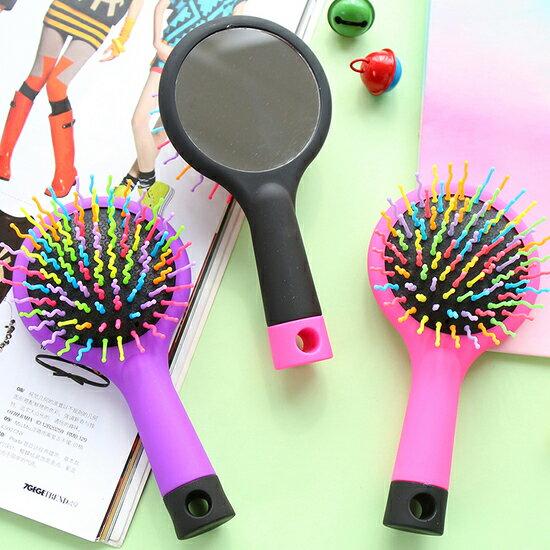 ♚MY COLOR♚氣囊按摩靜電梳 直髮 捲髮 梳妝 鏡子 美髮 隨身 便攜 閨密 學生 氣墊 彩虹【H24-1】