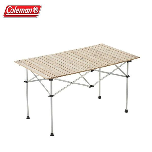 【露營趣】ColemanCM-31291天然木蛋捲桌120木捲桌二段高低折疊桌摺疊桌野餐桌露營桌休閒桌