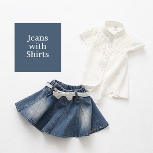 蕾絲拼接棉質襯衫+牛仔裙套裝(藍)【K10178】現+預