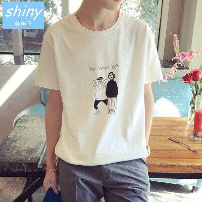 【Y103】shiny藍格子-俏皮可愛.夏季新款小情侶圖案圓領寬鬆短袖上衣
