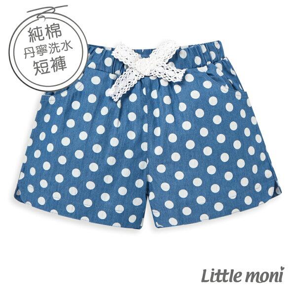 Littlemoni點點丹寧牛仔短褲-亮天藍