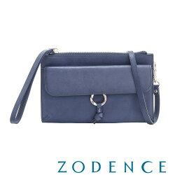 義大利真皮女包ZODENCE 植鞣革系列皮夾側背小包 藍-台灣製-現貨免運