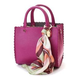 荷葉邊造型2way手提斜背包日本設計時尚絲巾素色簡約女流行包-7色
