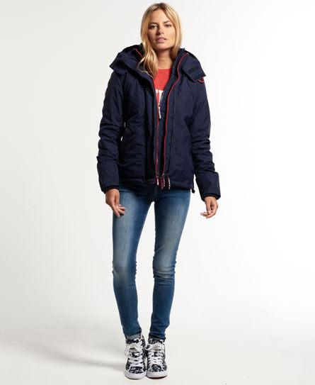 [女款]Outlet英國 極度乾燥 Pop Zip Hooded系列  三層拉鍊 連帽防風衣夾克 海軍藍/叛逆紅 2
